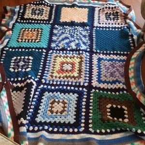 Hand Crocheted Granny Square Afghan